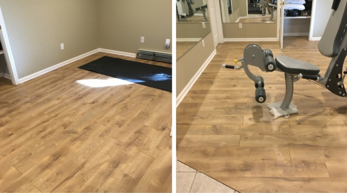 This room was originally carpeted and we redid it with vinyl flooring. Vinyl flooring is extremely durable, affordable, comfortable, and a good noise buffer (which is good for  multilevel homes and apartments). The surface under the vinyl flooring must be completely smooth because any imperfections will show through.